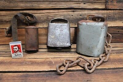 Three Vintage Cow Bell Large Bullfrog Shape Goat Animal