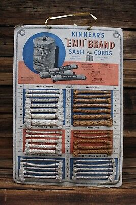 Vintage Kinnears Emu Brand Sash Cord Cardboard Adverting Board Sign
