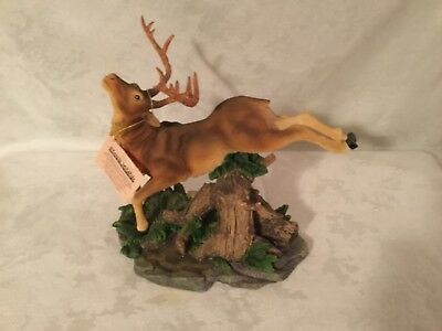 Classic Wildlife Collection Buck Jumping Stump Figurine On Decorative Base used