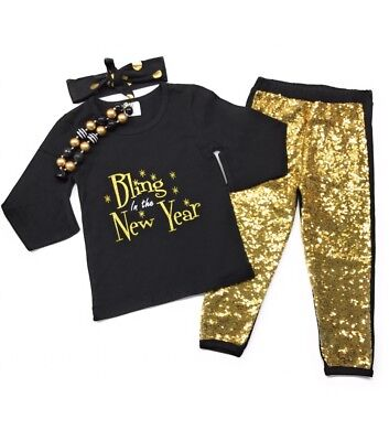 Girls Happy Bling New Year Sequin Legging Toddler Boutique Outfit Kids Clothing