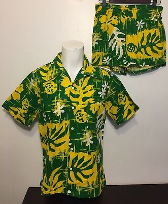 Vtg 1970s NEW Hawaiian Barkcloth Cabana Set M Shirt Swim Shorts Green Yellow NOS