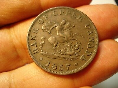 Canada   1/2  Penny  Bank Of Upper Canada  Token  1857  High Grade