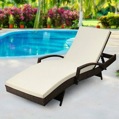 Outdoor Sun Lounge Adjustable Backrest Beach Pool Side Bed With Cushion Brown