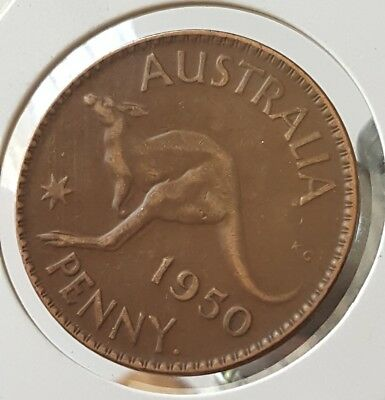 1950y. Australian Penny VERY NICE COLLECTABLE COIN + GRADE UNCLEANED #d41