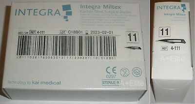 INTEGRA MILTEX 4-111 #11 Carbon Steel Surgical Blades 100/BX Sterile Kai Medical