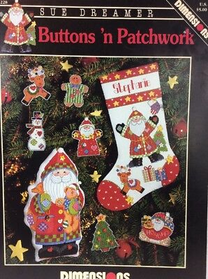 Dimensions Buttons 'n Patchwork Counted Cross Stitch Christmas Pattern Chart