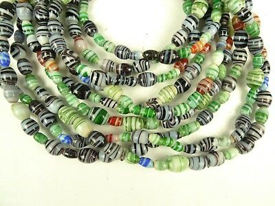 3 Strands Lot Mixed Swirled Wound Tribal Glass Trade Beads African Components