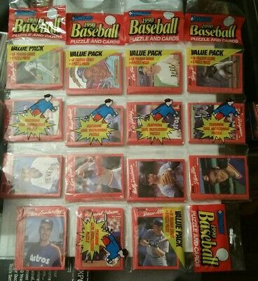 1990 Donruss Baseball Puzzle & Cards. Lot of 5 packs. Factory sealed. Vintage.
