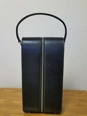 Black Leather Wine Caddy For Two Bottles