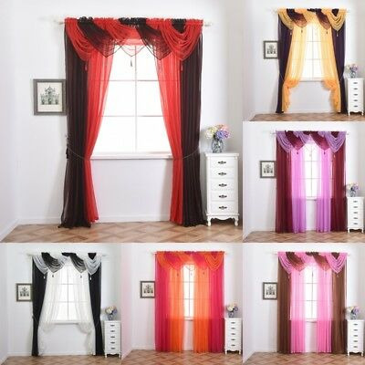 Hot Voile Tassel Cutains Decoration Net Curtain Drape Pelmet Valance Swags HS