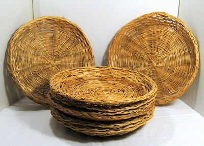 Vintage Lot 10 Paper Plate Holders Rattan Wicker Camping Wall Decor Basket