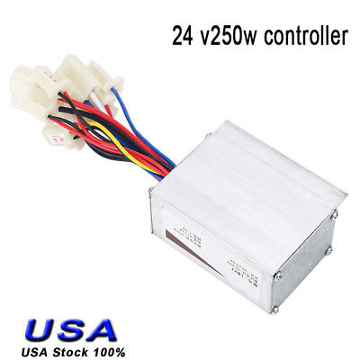24V 250W Electric Bicycle Brush Speed Motor Controller For E-bike & Scooter USA