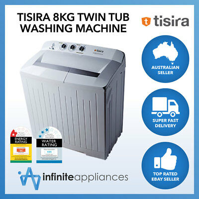 Tisira 8kg Twin Tub Freestanding Washing Machine Washer in White MTC80