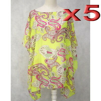 5pc Wholesale Women Summer Beach Poncho Loose Top Cover Up Kaftan Free Size