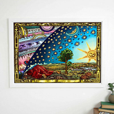 FLAMMARION FLAT EARTH POSTER-UNDER THE FIRMAMENT DOME- (LARGE A1 23.4 x 33in)