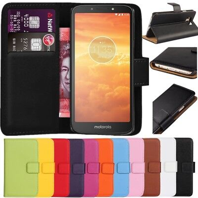 Premium Leather Flip Wallet Case Cover For Motorola Moto E5 Play