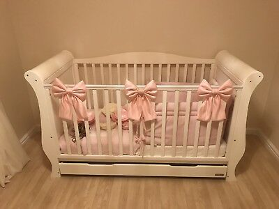 Stunning Luxury Duchess Satin Baby Cot Crib Padded Bows Set Of 3 Any Colour