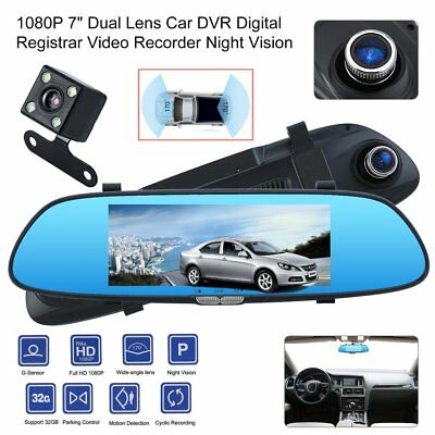 HD 1080P Dual Lens 7'' Vehicle Rearview Mirror Camera Recorder Car DVR Dash Cam✔