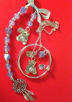 """Made With Love/boys:sterling Silver*16""""Chain+charm Pin&Bangle+charms/In a Box."""