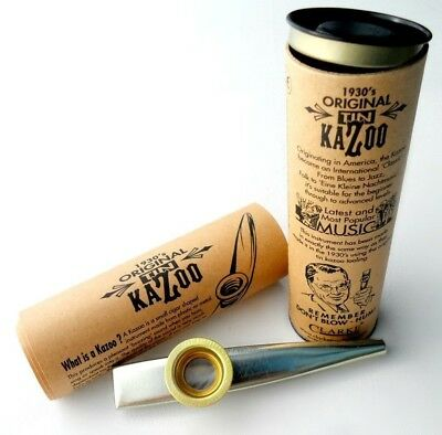 Clarkes Xl Silver Tinplate Kazoo in Beautiful Gift Packaged Tube and History
