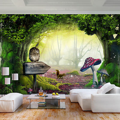 vlies fototapete wald fantasy mehrfarbig pilz tapete kinderzimmer wandbilder xxl eur 8 99. Black Bedroom Furniture Sets. Home Design Ideas