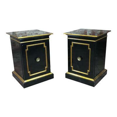 Hollywood Regency Black Ebonized Night Stands -a Pair