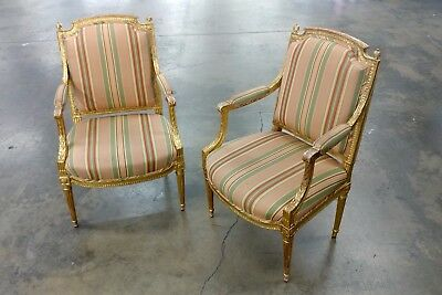 19th Century French Louis XVI Gilt Wood Fauteuils Chairs-A pair