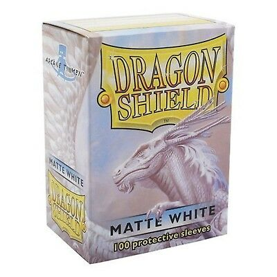 Dragon Shield Matte White Matte 100 Deck Protective Sleeves in Box, Stand... New