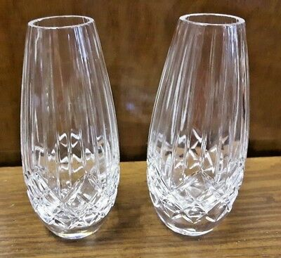 Pair of  Crystal Teardrop Reed Cut Vases - 12cm high Perfect for Weddings