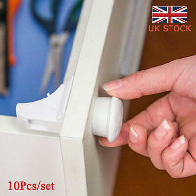 UK 10PC/Set Magnetic Cabinet Drawer Cupboard Locks for Kids Safety Protection