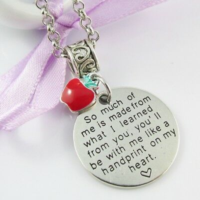 Teacher Gift Handprint on my Heart Message with Tiny Apple Charm Necklace 75cm