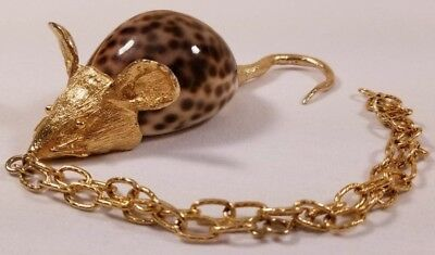 Vintage Cowrie Shell Rat Mouse Gold Plated on Chain Necklace Paperweight Deco