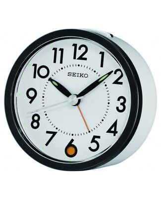 Seiko Round White Dial Silent Sweep Bedside Desk Snooze Alarm Clock QHE096W