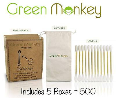 Natural bamboo wooden ear buds, cotton swabs for cleaning make-up, biodegradable