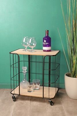 Industrial Style Wheeled Drinks Tea Trolley Black Metal Wood Kitchen