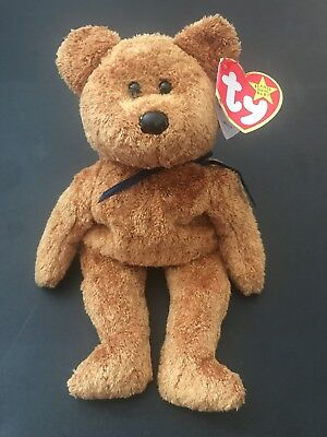 """Ty Beanie babies Collection """"Fuzz"""" 1998 the Bear Plush Toy retired NWT Ex Cond"""