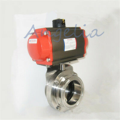 "1-1/2"" Stainless 304 Tri Clamp Silicone Sanitary Pneumatic Butterfly Valve"