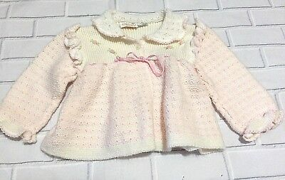 Vintage Atkins Italian Knit Baby Sweater Childrens White Pink Button Down