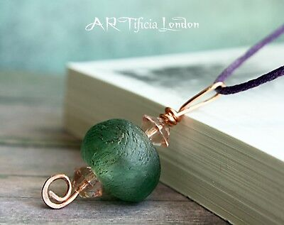 Unusual Copper Pendant with Handmade Sea Glass Beads | Nature Jewellery Gift