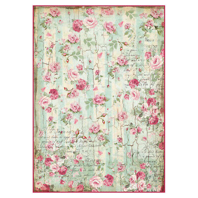 1 Blatt DIN A4 Decoupage Strohseide Stamperia DFSA4275 small roses and writings
