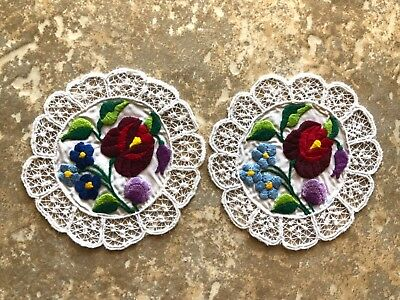2 matching Hungarian Kalocsa hand embroidered floral doilies from Hungary