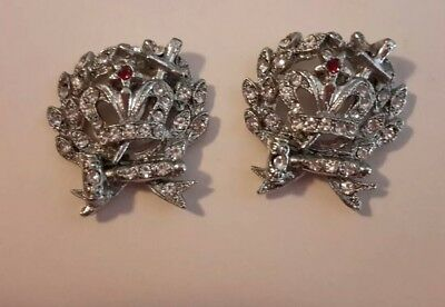 Order Of The Amaranth Silvertone Jeweled Vintage ORA Signed Earrings