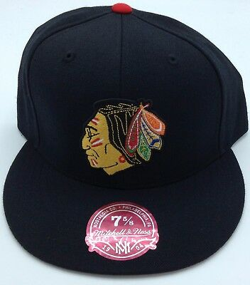 NHL Chicago Blackhawks Mitchell and Ness Fitted Cap Flat Brim Adult Hat M&N NEW