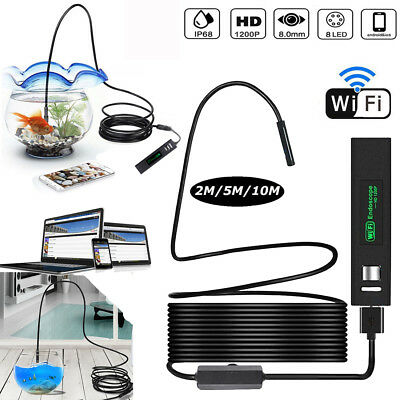8LED Wireless Endoscope WiFi USB Borescope Inspection HD 1200P Camera For Mobile