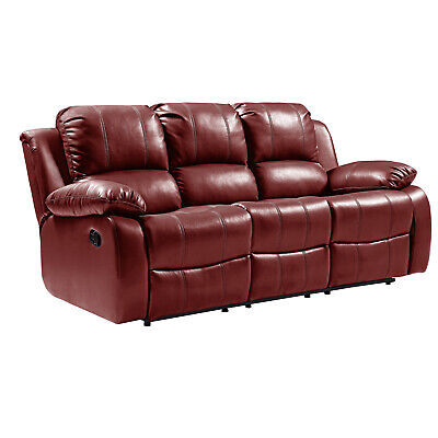 Genuine Real Leather Wine Recliner Sofas Set Suite 3+2+1 Seater New Sofa Couches