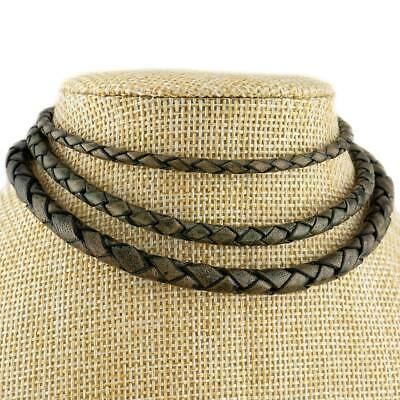 Antique Grey Braided Genuine Leather Cord Necklace 3, 4 or 5mm Thickness