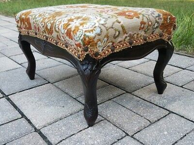 Vintage French Country footstool Louis XV carved walnut antique