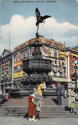 England London Piccadilly Circus Eros Statue of Greek God of Love scene 1960