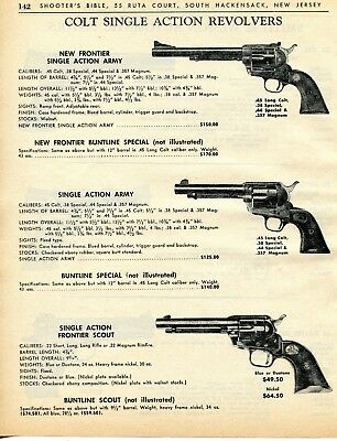 1964 PRINT AD of Colt New Frontier, Single Action Army, Frontier Scout  Revolver
