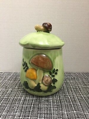 Mushroom Ceramic Cannister Vintage Small Minty Green